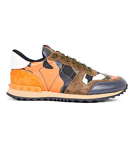 VALENTINO Camouflage-print leather trainers (Orange