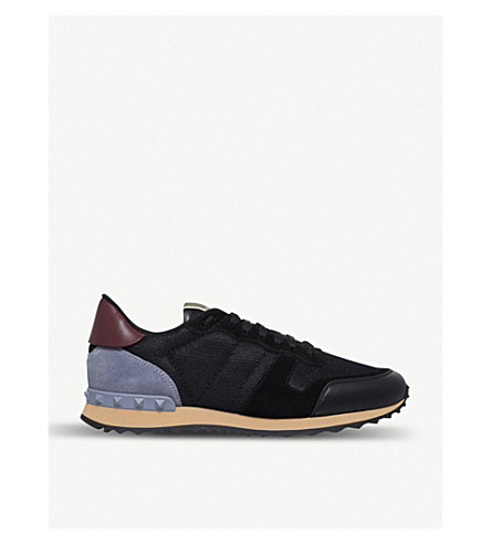 VALENTINO Garavani Rockrunner leather, suede and mesh trainers (Black/comb