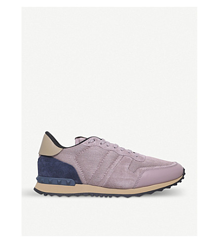 VALENTINO Rockrunner suede and mesh trainers (Pink