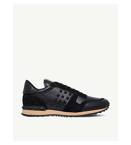 VALENTINO Rockstud leather and suede trainers (Black