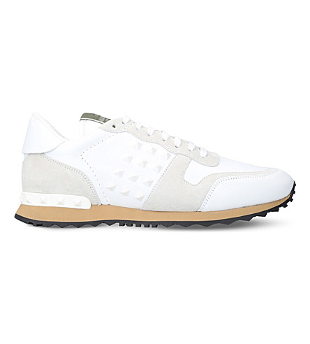 VALENTINO Rockrunner leather and suede trainers (White