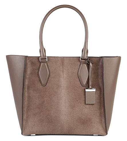 MICHAEL KORS COLLECTION LG leather and calf-hair tote (Elephant