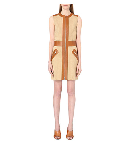 MICHAEL KORS COLLECTION Contrast-leather suede dress (Dune