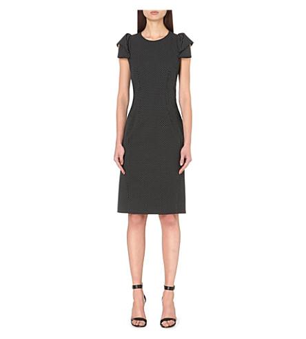 Origami-Sleeve Stretch-Wool Dress