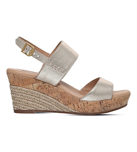UGG Elena metallic-leather wedge sandals (Gold