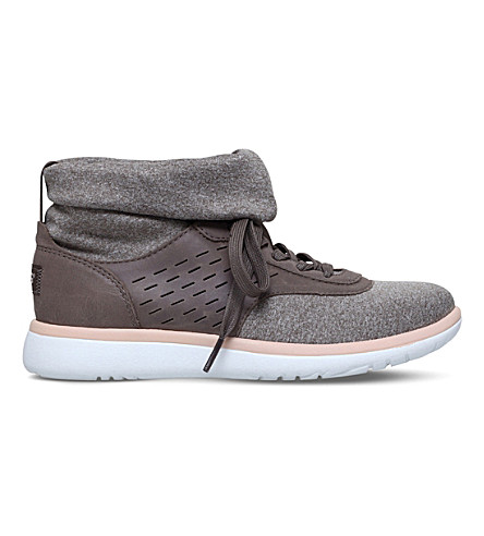 UGG Islay leather knit-sock trainers (Grey
