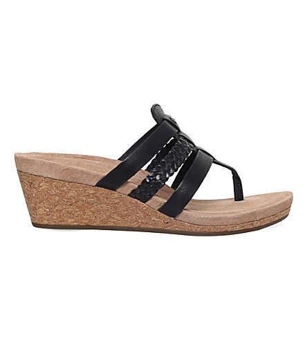 UGG Maddie strappy leather wedge sandals (Black