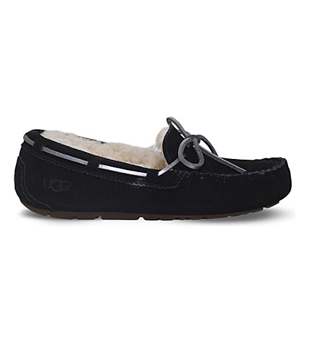 UGG Dakota wool-lined suede slippers (Black