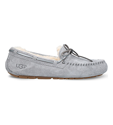 UGG Dakota wool-lined suede slippers (Grey