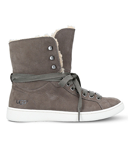 UGG Starlyn leather high-top trainers (Grey/dark