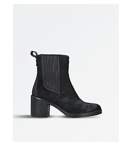 异国情调的小牛毛皮革切尔西靴子 (黑色