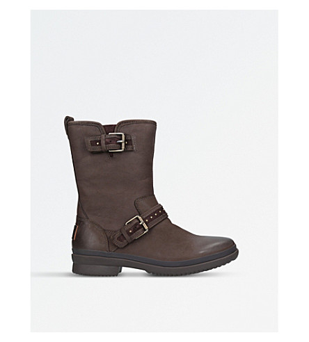 UGGJenise 皮革雨靴子 (深褐色