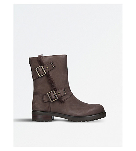 UGG Niels leather biker boots (Dark+brown
