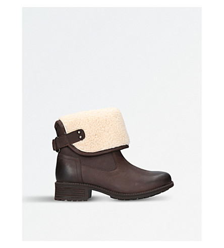 UGG Aldon wool-cuff leather boots (Dark+brown