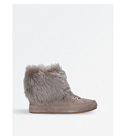 Antoine sheepskin-trimmed suede boots