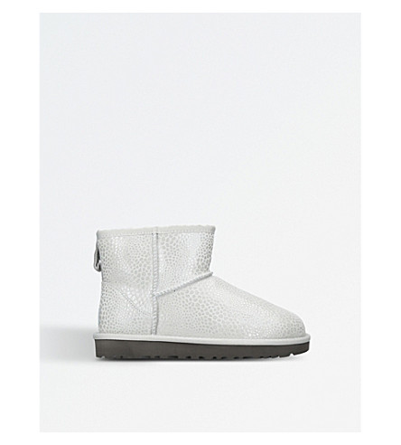 UGG Classic Mini Glitzy suede boots (Silver
