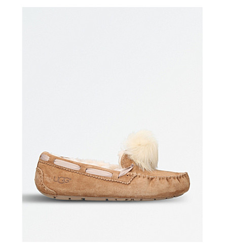UGG Dakota wool-lined suede pom pom slippers (Brown