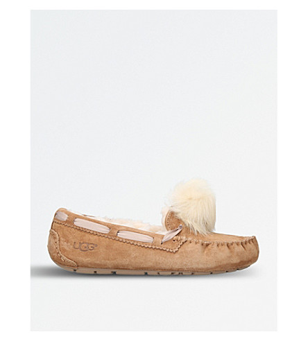 UGG Dakota wool-lined suede pom pom slippers (Pale pink
