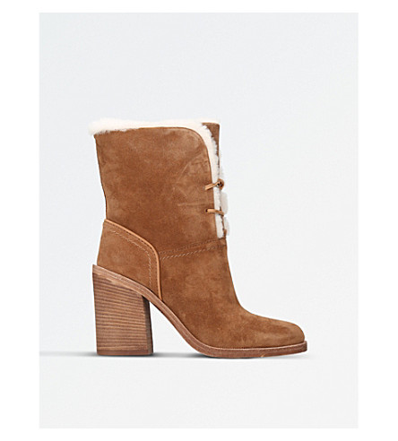 UGG Jerene suede sheepskin-lined heeled boots (Brown