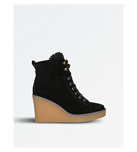 UGG Kiernan suede and sheepskin wedged ankle boots (Black