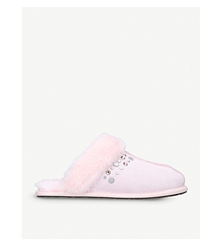 UGG Scuffette II embellished suede and sheepskin slippers (Fushia