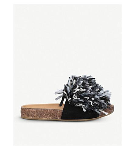 UGG Cindy suede fringed sliders (Blk/white