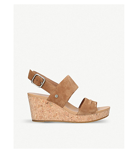 UGG Elena II leather wedge sandals (Brown