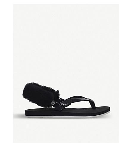 UGG Laa Laa sheepskin back strap flip flops (Black
