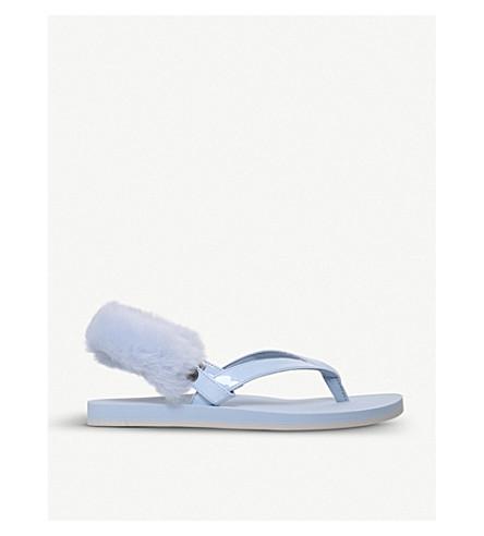 UGG Laa Laa sheepskin back strap flip flops (Pale+blue