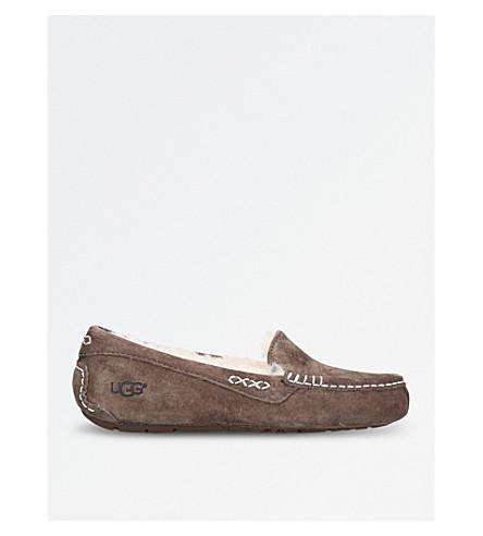 UGG Ansley slip-on suede slippers (Dark+brown