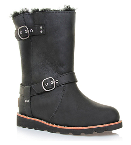 UGG Noira sheepskin-lined leather boots (Black
