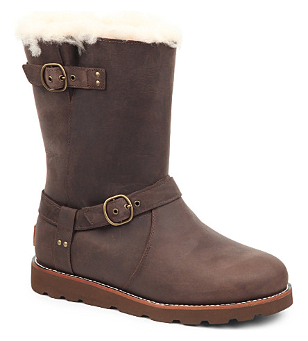 UGG Noira sheepskin-lined leather boots (Dark+brown