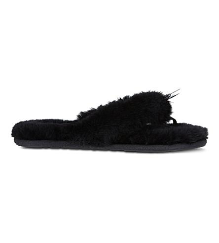 UGG Faux-fur flip flops (Black