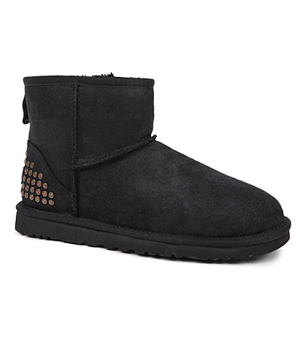 UGG Classic Mini studded sheepskin boots (Black