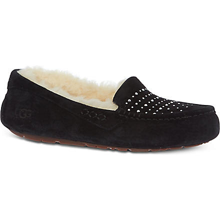 UGG Ansley bling sheepskin-lined slippers (Black