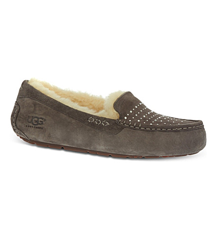 UGG Ansley bling sheepskin-lined slippers (Grey