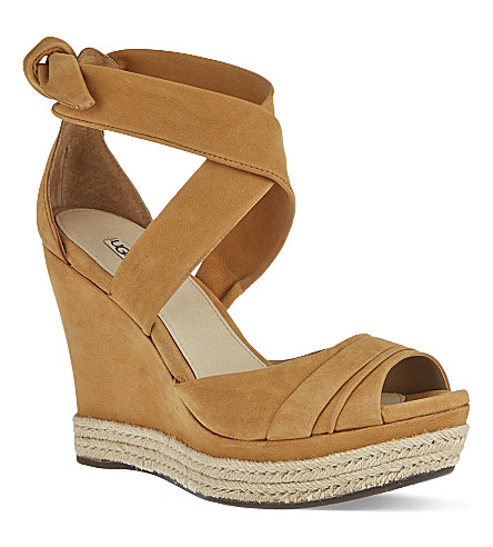 UGG Lucy leather wedge sandals (Brown