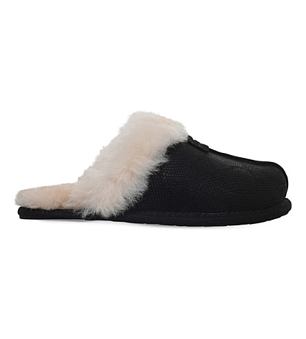 UGG Scuffette II snakeskin-embossed leather slippers (Black
