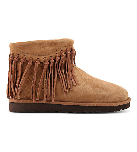 UGG Wynona suede fringed ankle boots (Brown