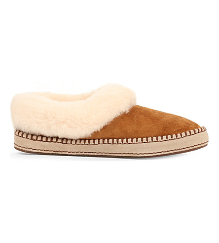 UGG Wrin suede wool-lined moccasin slippers (Brown
