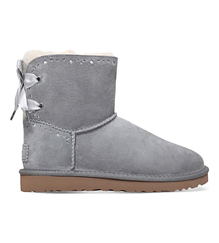 UGG Dixi flora perf suede boots (Grey/light