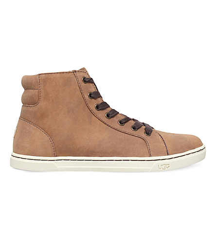 UGG Gradie high-top leather trainers (Dark+brown