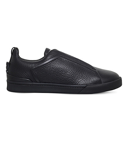 ERMENEGILDO ZEGNA Triple-stitch leather trainers (Black