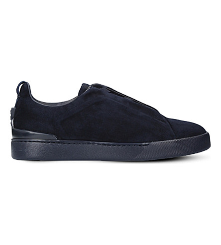 ERMENEGILDO ZEGNA Couture 3x low-top suede trainers (Blue