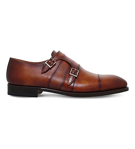 MAGNANNI Double-strap leather monk shoes (Tan