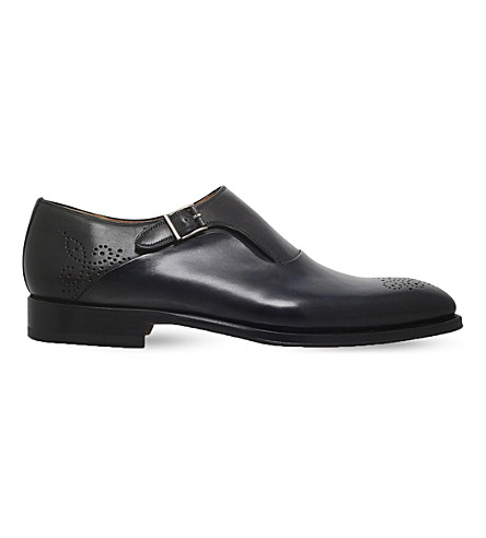 MAGNANNI Two-tone leather monk shoes (Blue+other
