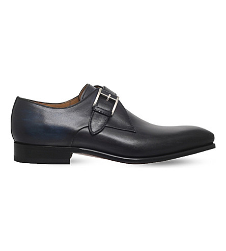 MAGNANNI Burnished leather monk shoes (Grey/other