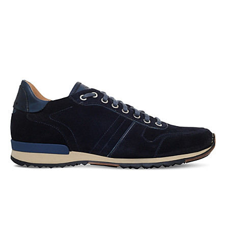 MAGNANNI Stitched suede trainers (Navy