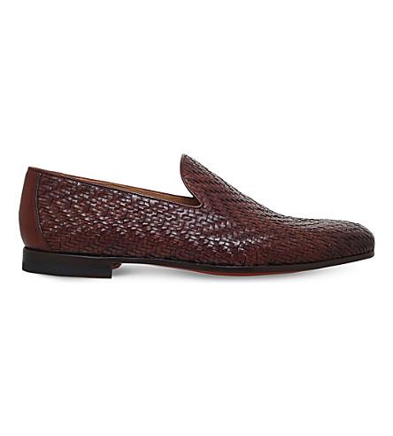 MAGNANNI Osuna 梭织真皮拖鞋 (棕褐色