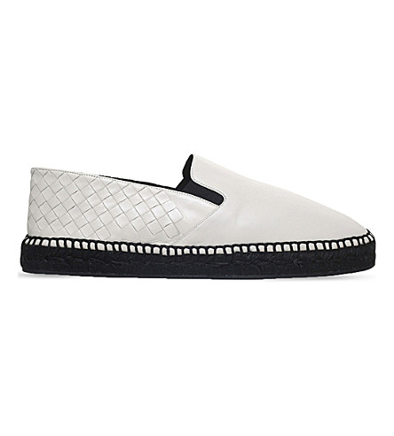 BOTTEGA VENETA Sardana woven leather espadrilles (White